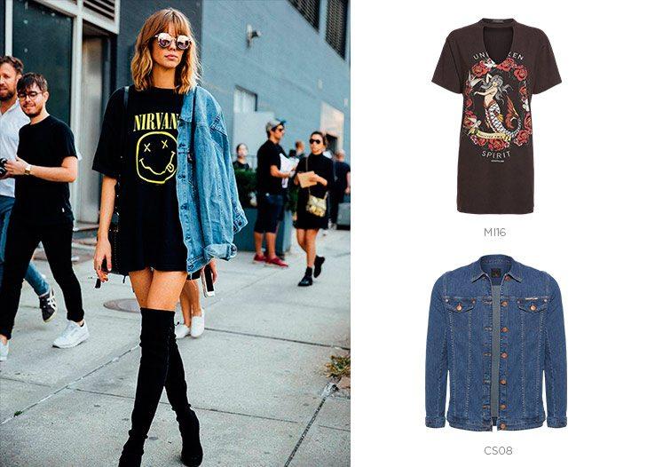 camiseta e jaqueta jeans