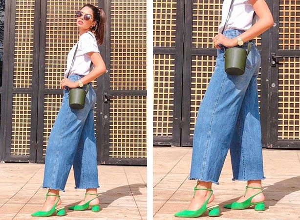 Calça jeans pantalona e pantacourt