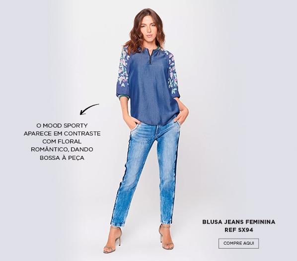 blusa jeans floral no inverno