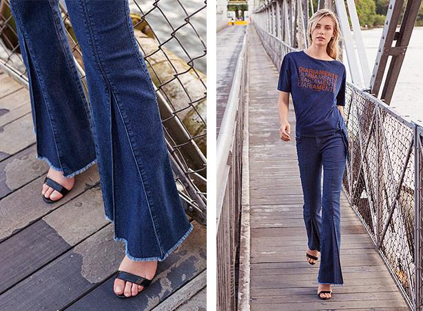 Calça flare jeans com salto alto