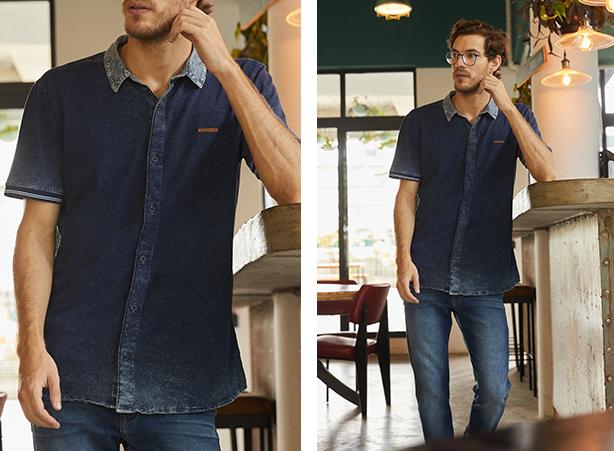 Camisa jeans com detalhes