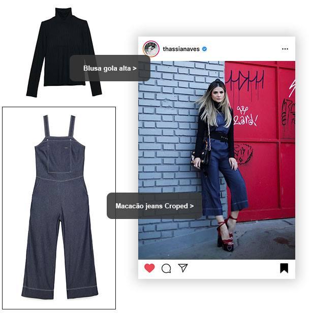 macacão jeans Thassia Naves