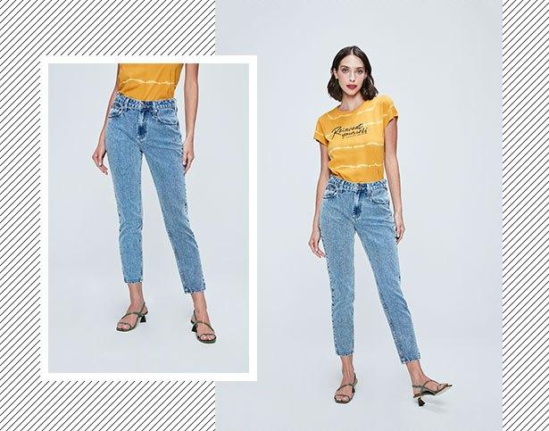 Calça mom jeans clara e camiseta de malha amarela com tingimento Tie Dye e tipografia.