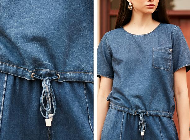 Blusa jeans escuro com cordão interno