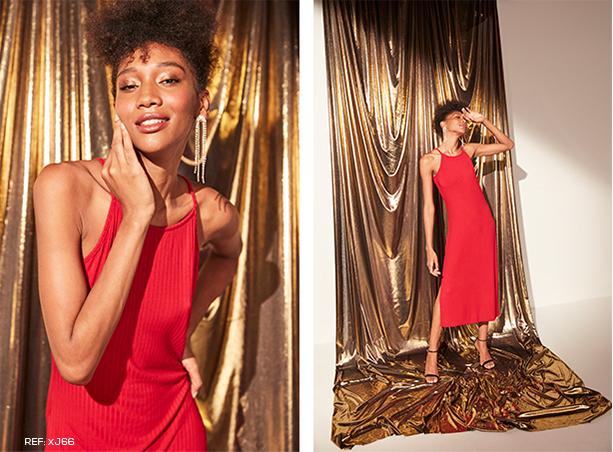 Vestido midi vermelho de alcinhas