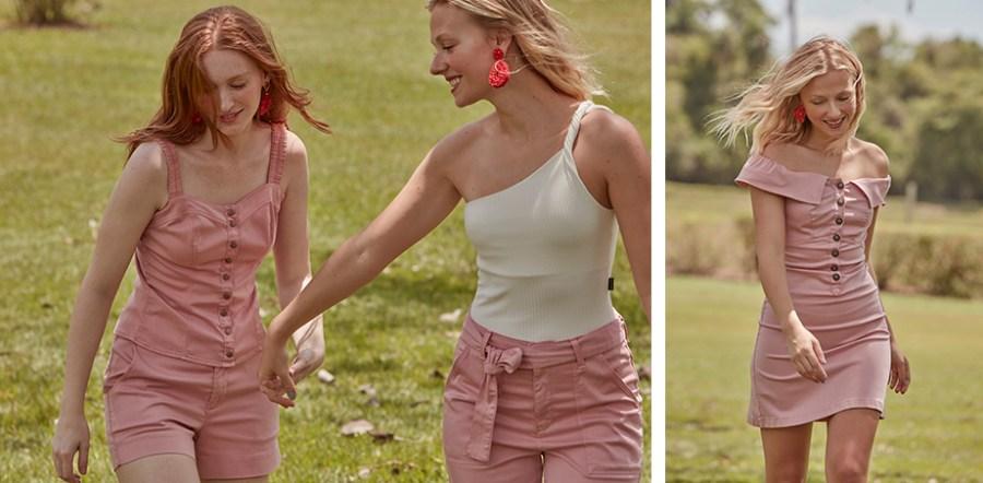 Short solto e regata com abotoamento frontal, ambos em rosa claro formando um conjuntinho. Body branco de um ombro só calça pantacourt rosa claro. Vestido médio rosa claro com decote ombro a ombro e botões frontais na parte de cima.