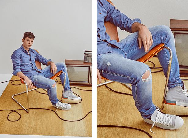 calça jeans claro com rasgos