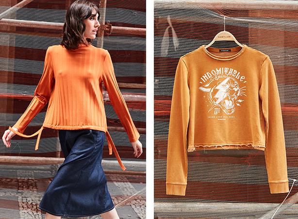 blusas em tons laranja