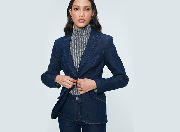 Blazer jeans para home office