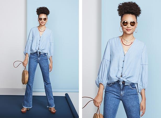 Look bata com calça flare jeans