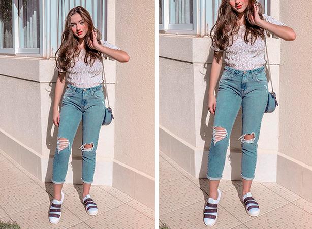 Calça jeans boyfriend destroyed cropped