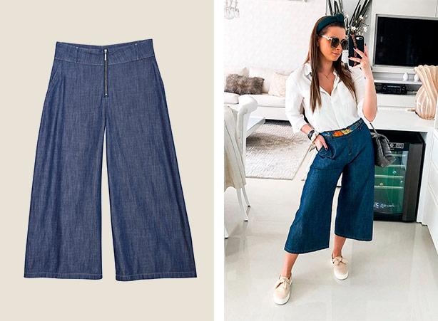 Calça pantacourt jeans com tênis