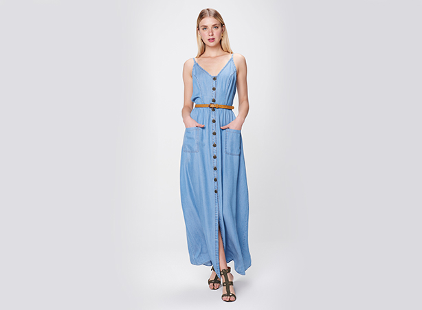 Vestido longo jeans