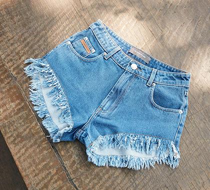 Foto do Short Jeans Micro Desfiado Cintura Alta