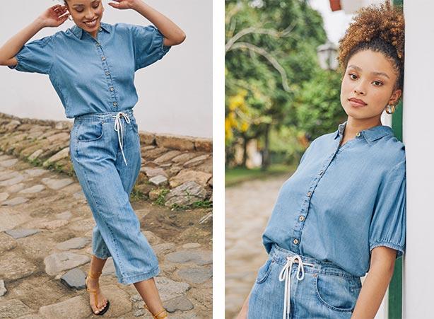 Looks de verão 2021 - Calça pantacourt jeans