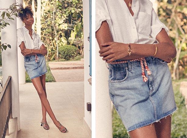 Saia jeans com cinto de corda