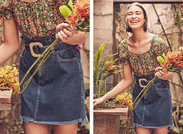 Saia jeans com look floral