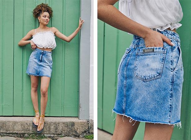 Saia jeans mini