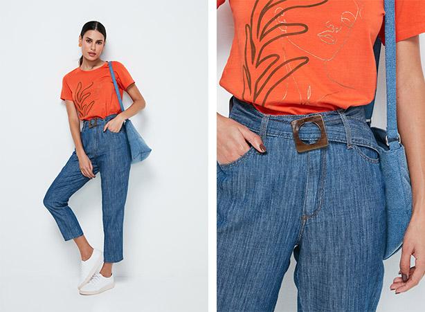 Calça de alfaiataria em jeans