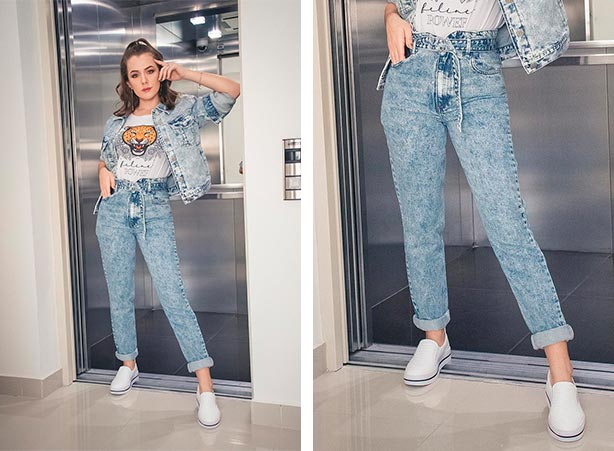 Calça clochard jeans com jaqueta