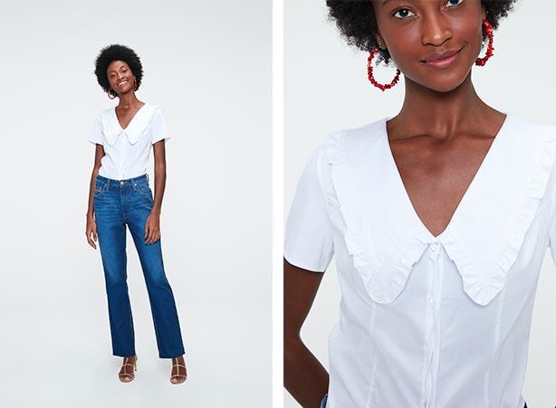 Calça jeans reta com camisa feminina
