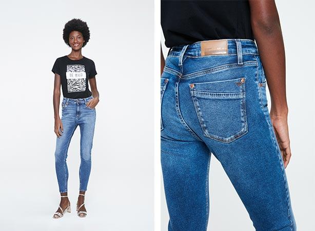 Calça jeans com t-shirt feminina