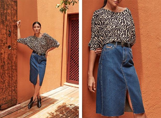 Look animal print com saia jeans
