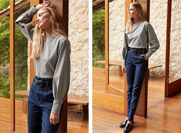 Blusa de manga longa com calça clochard jeans