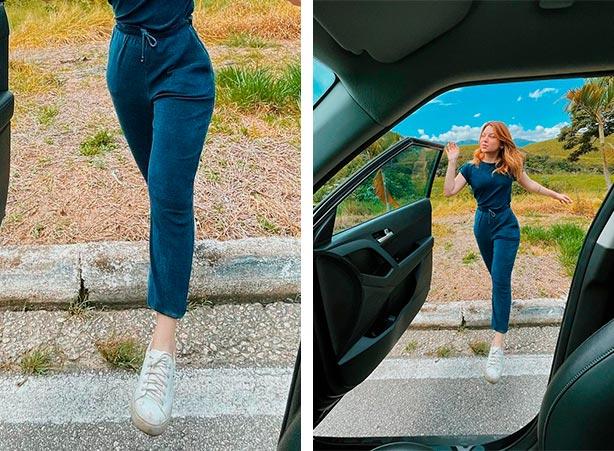 Calça jogger feminina com blusa