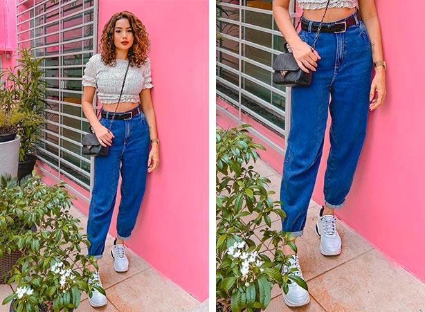 Cropped com calça jeans feminina