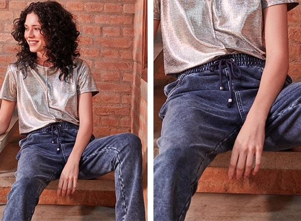Calça jogger com blusa metalizada