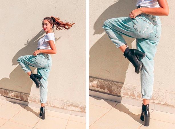 Look com calça jeans clara e bota