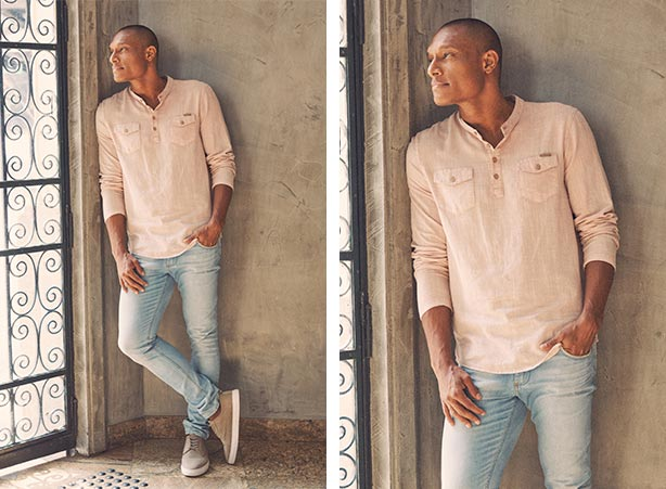 Look casual com bata e calça jeans masculina