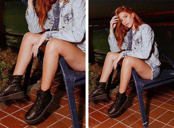 Look com short, jaqueta jeans e coturno