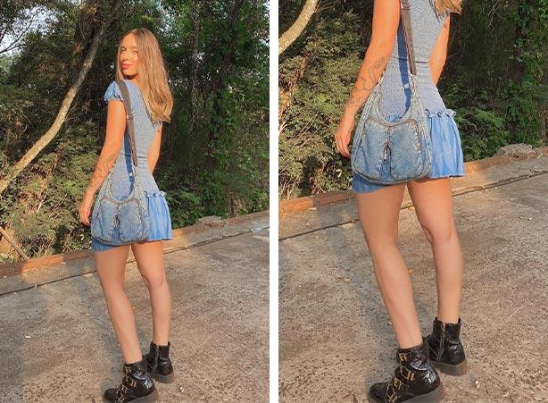 Vestido jeans com coturno