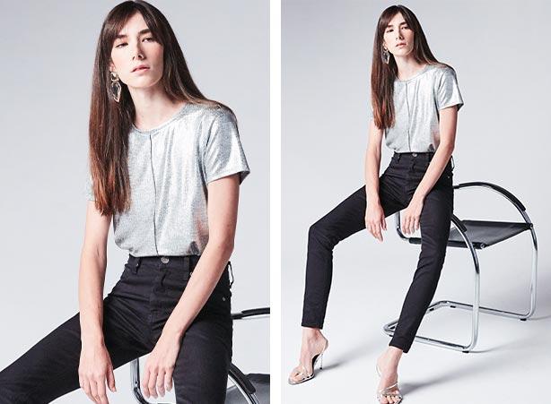 Blusa metalizada com calça preta