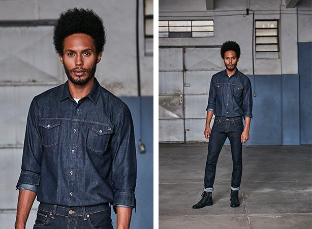 Camisa jeans e calça jeans escura