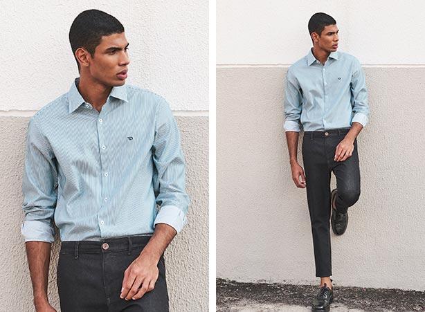 Look casual com camisa com listras e sapato social