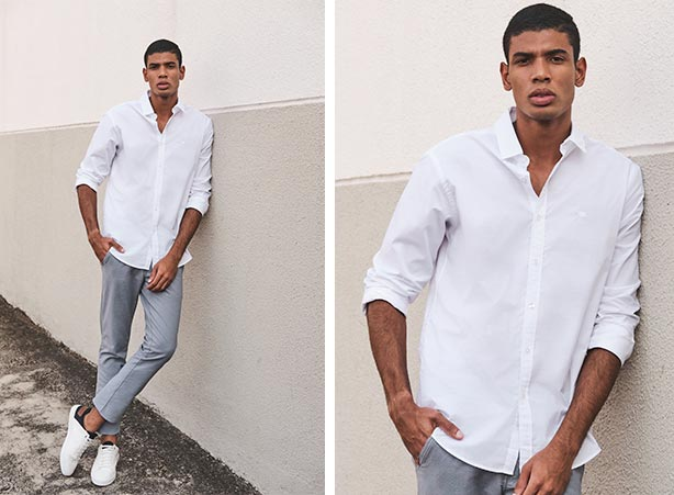 Camisa social branca com tênis