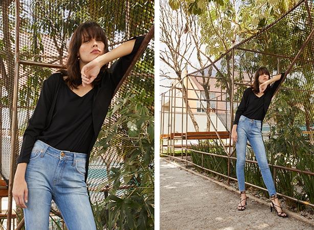 Cardigan com calça jeans