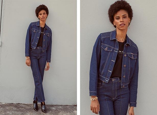 Jaqueta e calça jeans em looks femininos estilosos