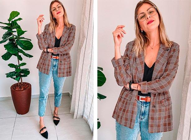 Calça jeans, blazer xadrez e blusa