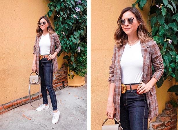 Calça jeans com blazer e tênis