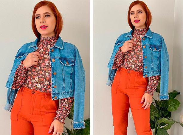 Calça laranja com jaqueta jeans