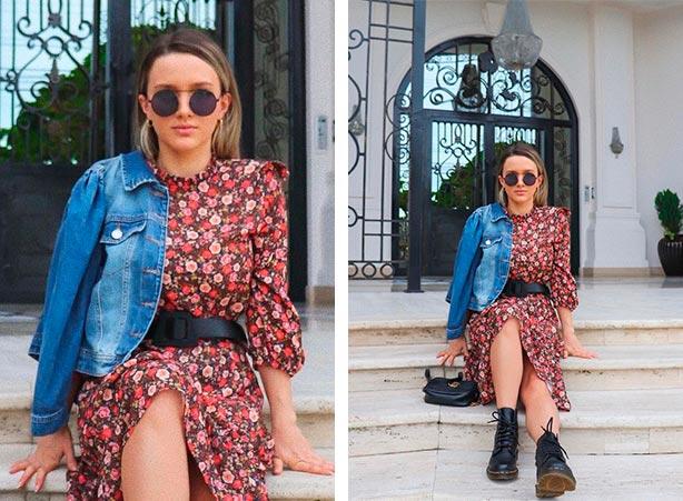 Look vestido com jaqueta jeans curta