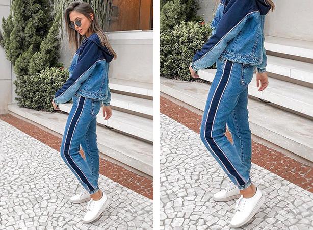 Tênis com calça jeans e jaqueta