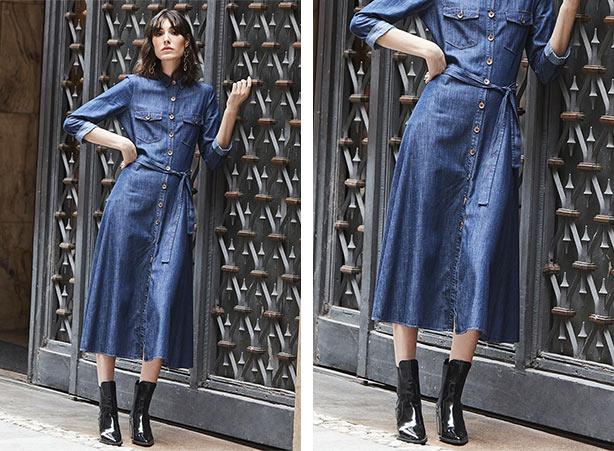 Modelagem chemise em jeans