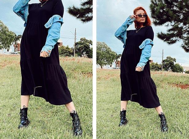 Breezy dress preto com coturno