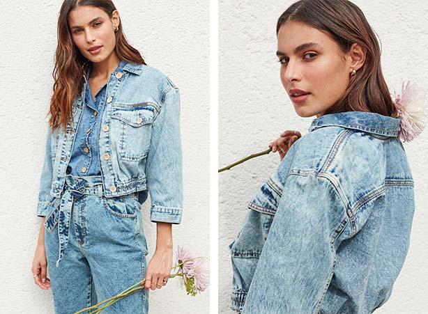 Look todo em jeans sustentável