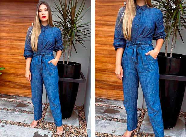 Look total jeans com camisa